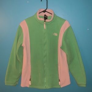 Bright green and gray NORTH FACE fleece jacket